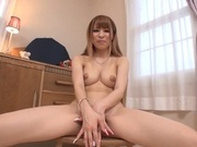 Pretty Asian redhead Rua Natsuki shows off her body and sucks cockasian babe, cute asian}