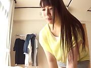 Brunette Chitose Saegusa giving stiff wang pleasure