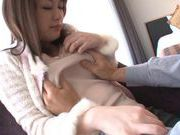 Pretty and horny Japanese AV model enjoys a rear fucking