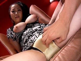 Hot big titted babe Minako Komukai, gets played with on a sofa