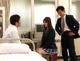 Schoolgirl Yui Tatsumi takes on two cocks in hardcore