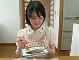 Big ass hotty Erina Nagasawa performing blow dick in kitchen picture 10