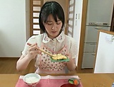 Big ass hotty Erina Nagasawa performing blow dick in kitchen picture 8