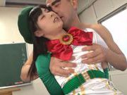 Spicy Japanese stunner in sexy costume jumps on cock