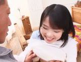 Horny Japanese sex doll Miyu Sakai stretches her holes picture 13