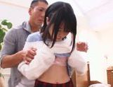 Horny Japanese sex doll Miyu Sakai stretches her holes