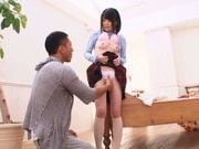 Horny Japanese sex doll Miyu Sakai stretches her holes