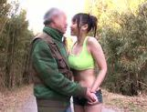 Busty teen Honami Uehara sucks and rides cock of old dude