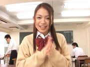 Shelly Fuji Asian teen in school uniform sucks cock