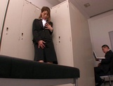 Horny Asian office babe, Haruka Sanada gives a nice handjob picture 12