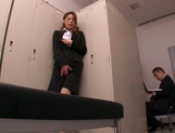Horny Asian office babe, Haruka Sanada gives a nice handjob picture 14