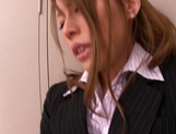 Haruka Sanada, busty Asian office lady gives hot handjob picture 15