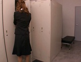 Horny Asian office babe, Haruka Sanada gives a nice handjob picture 1