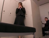 Horny Asian office babe, Haruka Sanada gives a nice handjob picture 8