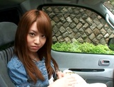 Hot teen, Akiho Yoshizawa gives a steaming blowjob in a car picture 4