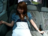 Hot teen, Akiho Yoshizawa gives a steaming blowjob in a car picture 6