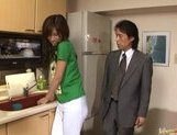 Riko Tachibana Asian office girl cleans rooms and fucks with guests picture 12