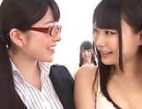 Uehara Ai Nagomi and Natsume work their twats to eruption