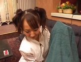 Two playful Asian teens Yui Miho and Mitsu Amai enjoy threesome bang picture 6