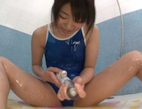 Curious Japanese solo babe Tsugumi Mutou drills her lovely slit