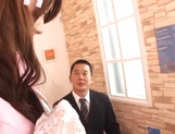 Naughty threesome fuck for Japanese babe Yui Hatano in sexy lingerie
