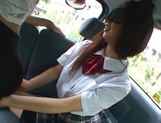 Horny Asian schoolgirl, Anna Oguri gives a steaming blowjob in a car picture 13
