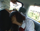 Horny Asian schoolgirl, Anna Oguri gives a steaming blowjob in a car picture 14