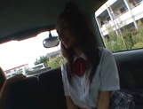 Horny Asian schoolgirl, Anna Oguri gives a steaming blowjob in a car