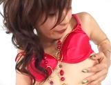 Japanese AV model in red lingerie amazes during hot solo