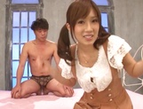 Teen hottie with pigtails Minami Kojima gets pleased by stiff cock