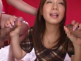 Glamorous Japanese teen Minami Kojima blows and rides two cocks picture 14