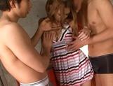 Hairy Asian teen Honoka Yumesaki nailed by two horny stallions