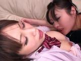 Shino Megumi and Yamamoto Miwako fuck on the couch