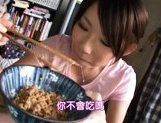Lala Suzumiya Japanese model sucks cock in the kitchen after dinner picture 14