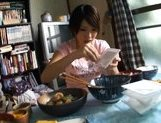 Lala Suzumiya Japanese model sucks cock in the kitchen after dinner