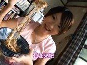Lala Suzumiya Japanese model sucks cock in the kitchen after dinner