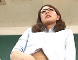 Hot teacher Jun Harada masturbastes in front of her students picture 11
