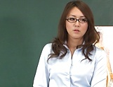 Hot teacher Jun Harada masturbastes in front of her students