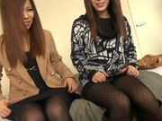 Two sexy Japanese lesbians tease and blow horny guy
