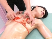 Japanese AV model masturbates with a dildo
