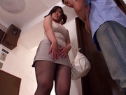 Kinky Japanese milf Yuri Shibasaki in sexy pantyhose blows cock