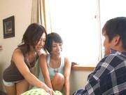 Two juicy Asian models Riku Minato and Miyuu Suzumura share one cock