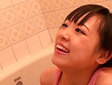 Horny lesbian babes Ryo Sena, and Rabu Saotome have fun in the bathroom picture 12