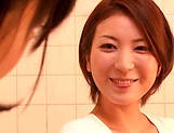 Horny lesbian babes Ryo Sena, and Rabu Saotome have fun in the bathroom picture 3