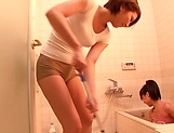 Horny lesbian babes Ryo Sena, and Rabu Saotome have fun in the bathroom picture 7