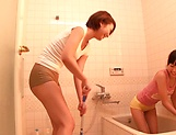 Horny lesbian babes Ryo Sena, and Rabu Saotome have fun in the bathroom picture 8