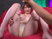 Pretty redhead Yui Nishikawa enjoys pussy stretching