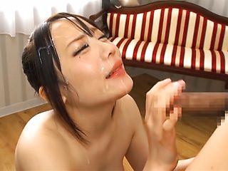 Small titted Asian babe Shiho Akane sucks dick and gets a facial