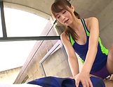Akiho Yoshizawa Asian hottie in a swimsuit gives hot blowjob picture 10