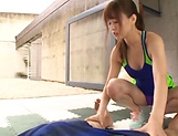 Akiho Yoshizawa Asian hottie in a swimsuit gives hot blowjob picture 13